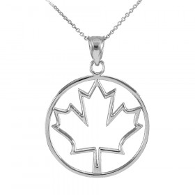 Maple Leaf Open Design Pendant Necklace in 9ct White Gold