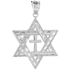 Medium Star of David Pendant Necklace in 9ct White Gold
