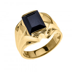 Men's 4.0ct Black Onyx Bold Ring in 9ct Gold