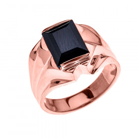 Men's 4.0ct Black Onyx Bold Ring in 9ct Rose Gold