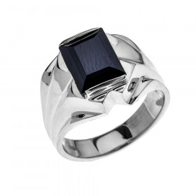 Men's 4.0ct Black Onyx Bold Ring in 9ct White Gold