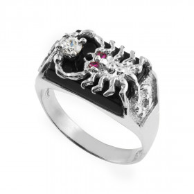 Men's Black Onyx and CZ Scorpion Ring in 9ct White Gold