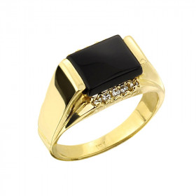 Men's 2.34ct Black Onyx and Diamond Ring in 9ct Gold