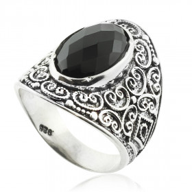 Men's Black Onyx Statement Ring in Sterling Silver
