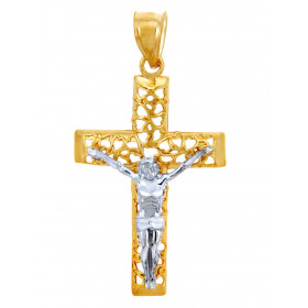Men's Blessed Cross Pendant Necklace in 9ct Two-Tone Gold