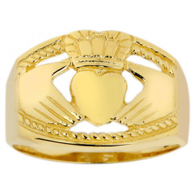 Men's Bold Claddagh Ring in 9ct Gold