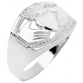 Men's Bold Claddagh Ring in 9ct White Gold