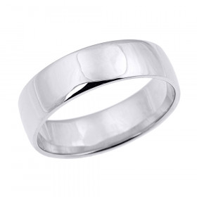 Men's Comfort Fit Plain Wedding Ring in 9ct White Gold