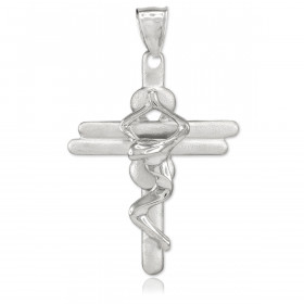 Men's Contemporary Crucifix Cross Pendant Necklace in 9ct White Gold
