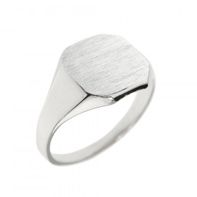 Men's Corners Signet Ring in 9ct White Gold