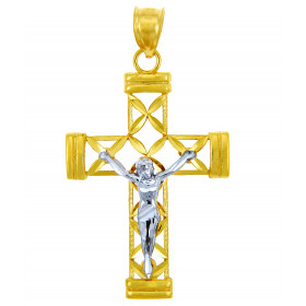 Men's Cross Pendant Necklace in 9ct Two-Tone Gold