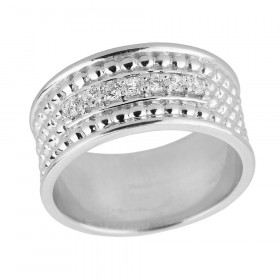 Men's CZ Ball Bead Anniversary Wedding Ring in Sterling Silver