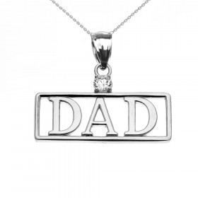 Men's CZ Dad Charm Pendant Necklace in 9ct White Gold
