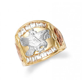Men's CZ Eagle Ring in 9ct Three-Tone Gold