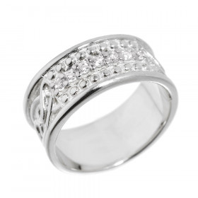Men's CZ Knot Wedding Ring in Sterling Silver