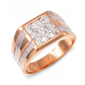 Men's CZ Ring in 9ct Rose Gold