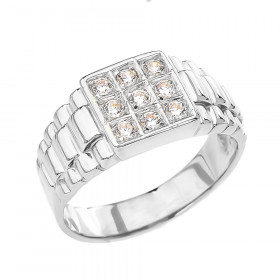 Men's CZ Ring in Sterling Silver