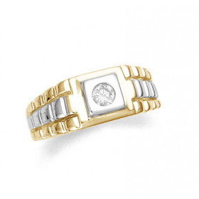 Men's CZ Ring in 9ct Two-Tone Gold