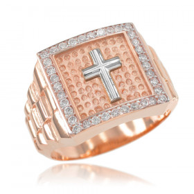 Men's CZ Watchband Design Cross Ring in 9ct Rose Gold