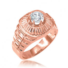 Men's CZ Watchband Design Ring in 9ct Rose Gold