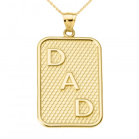 Men's Dad Charm Pendant Necklace in 9ct Gold