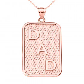 Men's Dad Charm Pendant Necklace in 9ct Rose Gold