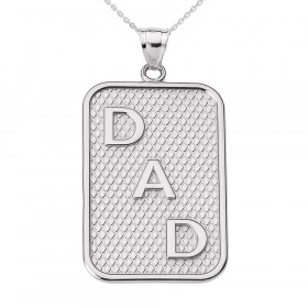 Men's Dad Charm Pendant Necklace in 9ct White Gold