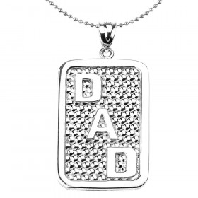 Men's Dad Pendant Necklace in Sterling Silver