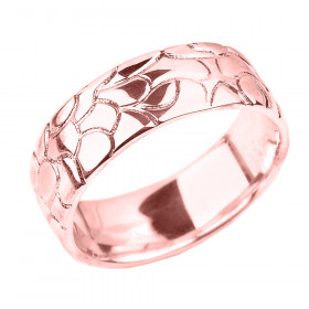 Men's Decorative Wedding Ring in 9ct Rose Gold