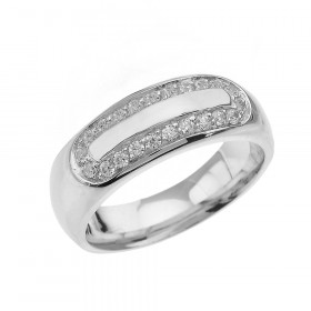Men's 0.4ct Diamond Accented Comfort Fit Ring in 9ct White Gold