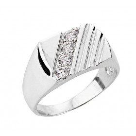 Men's 0.4ct Diamond Channel Set Ring in 9ct White Gold