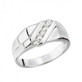 Men's 0.25ct Diamond Channel Set Ring in 9ct White Gold