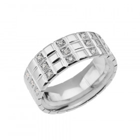 Men's 0.4ct Diamond Chequerboard Ring in 9ct White Gold