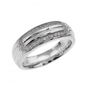 Men's 0.4ct Diamond Comfort Fit Ribbed Stripe Ring in Sterling Silver