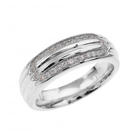 Men's 0.4ct Diamond Comfort Fit Ribbed Stripe Ring in 9ct White Gold
