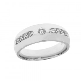 Men's Diamond Comfort Fit Ring in Sterling Silver