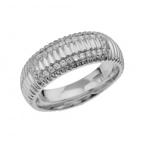 Men's 0.4ct Diamond Comfort Fit Watchband Design Ring in Sterling Silver