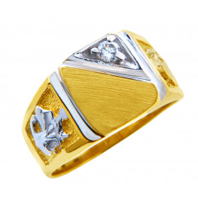 Men's Diamond and CZ Signet Ring in 9ct Two-Tone Gold