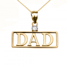 Men's 0.05ct Diamond Dad Charm Pendant Necklace in 9ct Gold