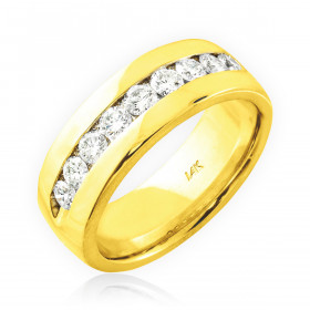 Men's Diamond Half Eternity Wedding Ring in 9ct Gold