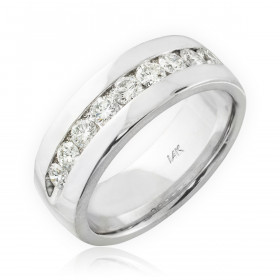Men's Diamond Half Eternity Wedding Ring in 9ct White Gold