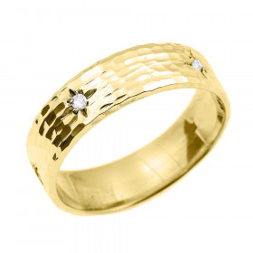 Men's Diamond Hammered Thumb Ring in 9ct Gold