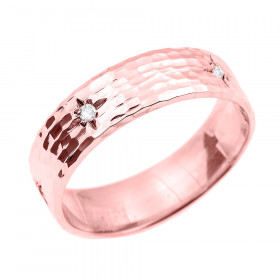 Men's 0.07ct Diamond Hammered Thumb Ring in 9ct Rose Gold