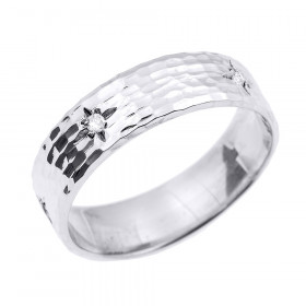 Men's Diamond Hammered Thumb Ring in 9ct White Gold