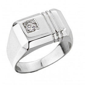 Men's 0.1ct Diamond Ring in 9ct White Gold