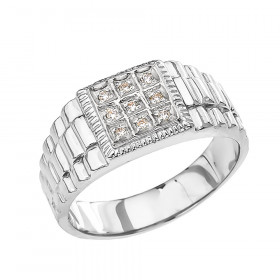 Men's 0.08ct Diamond Watchband Design Ring in 9ct White Gold