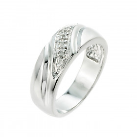 Men's Diamond Wedding Ring in Sterling Silver