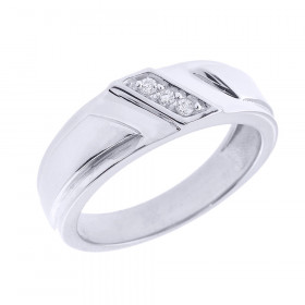 Men's 0.05ct Diamond Wedding Ring in Sterling Silver