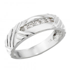 Men's 0.13ct Diamond Wedding Ring in 9ct White Gold