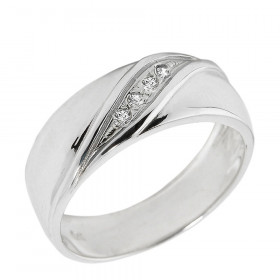 Men's 0.03ct Diamond Wedding Ring in 9ct White Gold